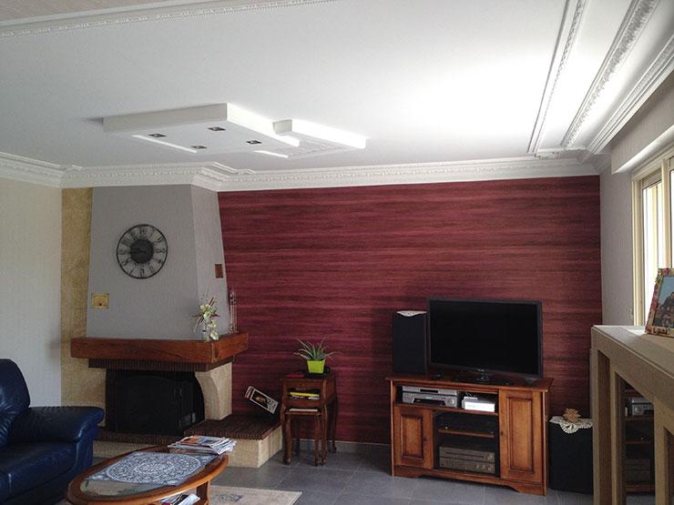 rnovation de mur et de plafond avec une toile tendue et dcoration avec ornement
